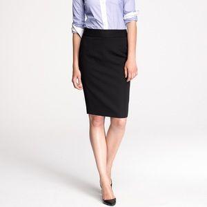 J. Crew No. 2 Black 100% Wool Pencil Skirt Size 2